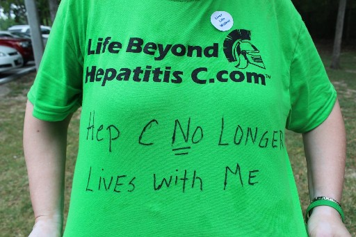 Hep C Warrior Connie's Shirt. 'It was a long journey.  Praise God I am here!'