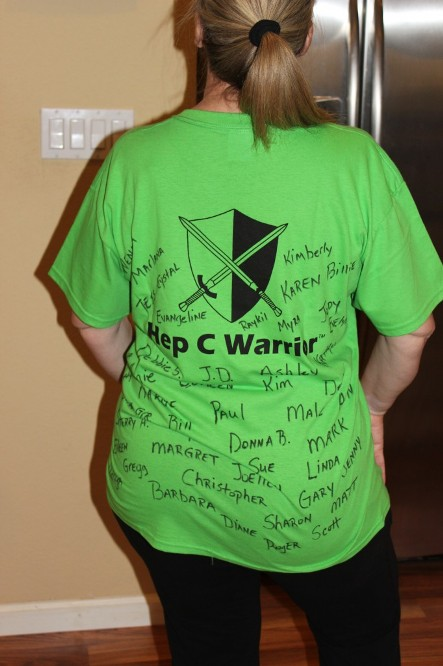 Hep C Warrior's Names written all over my shirt.